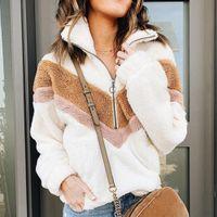Casual Fleece Felpa Donne Patchwork Zip Faux Fur oversize con cappuccio inverno Fluffy femminili più Pullover Dimensione