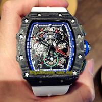 Fibra di carbonio R Top versione RM11-04 NTPT Cassa di scheletro Big Data Quadrante Giappone Miyota automatico RM 11-04 orologi Mens Watch gomma Sport Designer