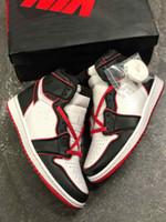 1 الرجعية ارتفاع سلالة الدماء jumpman 1 ثانية أحذية كرة السلة مع الأسود الصالة الرياضية الحمراء الأبيض 555088-06 رجل مصمم المدربين chaussure دي سلة الكرة شوه
