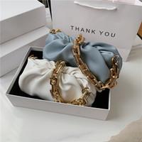 패션 어깨 겨드랑이 가방 여성 2020 인기있는 새로운 여름 와이드 골드 체인 구름 화이트 접어