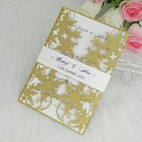 Tarjeta de invitaciones de la boda de la boda del copo de nieve Corte la tarjeta floral de la invitación floral con el cinturón para el matrimonio, la quinceanera hueca invita, dulce 15 invitación