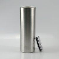 20 oz Skinny Tumbler en acier inoxydable Coupe droite avec couvercle à double paroi à isolation sous vide Flask Slim Gobelets Tasse Voyage tasse de café moins cher