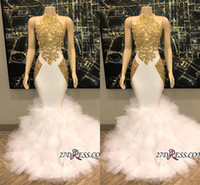 Vintage Elegant White Mermaid Prom Dresses with Gold Lace Ap...