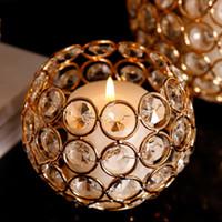 Kristall Kerzenhalter ball romantische Hochzeit Gold Dekoration kreative retro Leuchter Eisen Hause Tisch Dekor Metall