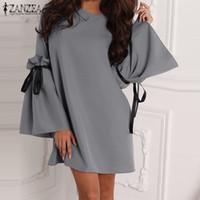 Летнее платье ZANZEA элегантные женщины с длинными оборками рукав мини-платья сексуальные дамы короткие Vestidos мода шикарный Vestido плюс размер 5XL