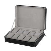 특별 보호 10 그리드 PU 가죽 시계 상자 케이스 지퍼 여행 시계 보석 보관 가방 상자