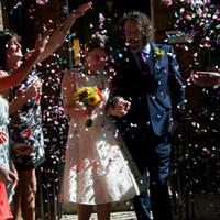 Venta caliente 380pcs forma Party el confeti dispersiones de oro de plata del corazón del rojo azul apenas casado casando la decoración confeti