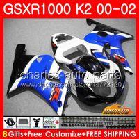 BODYS VOOR SUZUKI GSXR 1000 GSX-R1000 GSXR1000 00 01 02 Voorraadblauwe Nieuwe Frame 14HC.70 GSX R1000 K2 00 02 GSXR-1000 2000 2001 2002 Fairing Kit