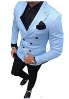 Cool Groomsmen Double- Breasted Groom Tuxedos Mens Wedding Dr...