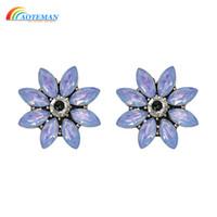 Blumen-Bomb-Bolzen-Ohrringe für Frauen MIDNIGHT SHIMMER Chic Statement Schmuck Oorbellen Kristallohrringe für Mädchen