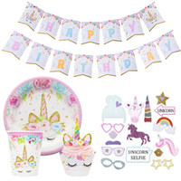 Birthdays Unicorn Party Photo Booth Props Banner Cups Topper...