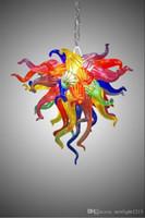 Pequeño tamaño Multicolor Flor Art Chandeliers Lámpara Tienda Decoración LED luces Fuente 100% Mano Florada Vidrio Cadena larga Chandelier Lightlier Lighture