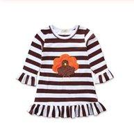 추수 감사절 유아 어린이 아기 소녀 가을 파티 드레스 긴 소매 프릴이 터키 스트라이프 프린트 무릎 길이의 A-라인 드레스