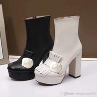 Bottes courtes de vachette classique talons hauts dames mode épaisseur bottes à talons super haut talon bottes métalliques boucle cuir femme chaussures taille 35-40
