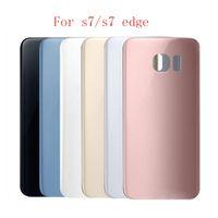 100pcs batterie porte arrière logement couvercle en verre couverture pour Samsung Galaxy S7 G930f S7 Edge G935f avec adhésif autocollant DHL Livraison gratuite