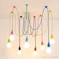 US Stock E27 Art Colorful Pendant Lights Spider Chandelier P...