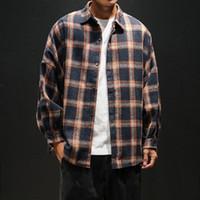 Herren Plaid Flanell Hemden Hip Hop Männer Hemd Langarm Streetwear Mantel Lose Casual Shirt 5XL Plus Größe Kleidung