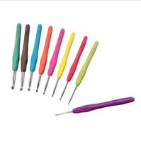 Вязание шаблон Kit Металл крючком TPR Алюминий Вязание крючком иглы инструмент с мягкой ручкой Crafts 9PC / Set LXL383-A