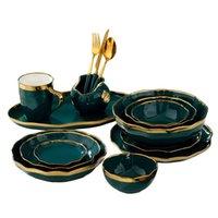 Vintage verde vajilla de cerámica vajilla de oro vajilla de talla hecha a mano de placa de filete en forma ondulada placas platos platos ensaladas taza de café