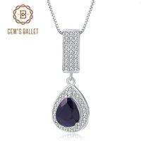 GEM ES BALLTE 925 Sterling Silber Schmuck 1.29Ct natürliche blauer Saphir-Edelstein-elegante hängende Halskette für Frauen Fine Jewelry CJ191128
