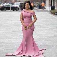 2020 Африканские Атласные Платья Невесты Пыльно Розовая Русалка Весна Лето Сельский Сад Формальные Свадебные Платья Плюс Размер На Заказ