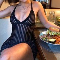 Frauen sexy einstellbar Spaghetti Strap sexy tiefe V-Ausschnitt Sleeveless Mesh Sehen Sie durch Bodycon Mini Club Partykleid