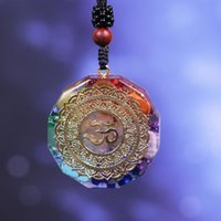 Orgonite Подвеска Ом Символ ожерелье Chakra Healing Energy ожерелье Медитации ювелирные изделия ручной работы Профессиональные ожерелье Женщины подарков