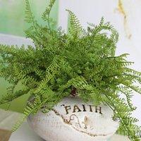 Flores decorativas grinaldas por atacado- beleza samambaia figura artificial artificial deixar folhagem lareira decoração decoração gota cupes1
