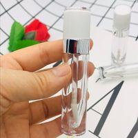 Beyaz kapak Silindir Küçük Numune Kozmetik Kabı ile Yeni Yüksek kaliteli 5ML Mini Lip parlak Tüp Boş ABS Dudak balsamı tüpleri