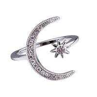 Anel Lua de cristal Lua de Diamante Anéis Estrela Aberto Ajustável Rgins Designer de Anéis de Moda Jóias para As Mulheres Will e Sandy Dropship 080444