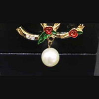Wholesale Pearl Pendant Brooches Corsage14k Gold Double Laye...