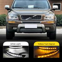 2pcs LED Car DRL Para Volvo XC90 2007 2008 2009 2010 2011 2012 2013 virar amarelo Signal relé luz de circulação diurna Luz Daylight Fog