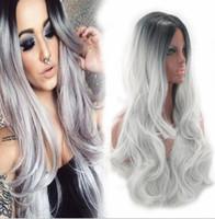 Pelucas sintéticas Natural rizado ondulado gris bebé resistente al calor 26 pulgada larga peluca de Ombre para las mujeres negras FZP155