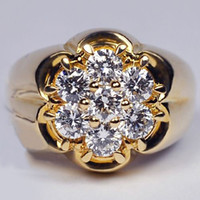 14K Gold Luxury Flower Diamond Inlay Ring Men' s and Wom...