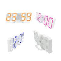 3D LED Dijital Saat Parlayan Gece Modu Parlaklık Ayarlanabilir Elektronik Tablo Saat 24/12 Saat Gösterge Çalar Saat Duvar Asma