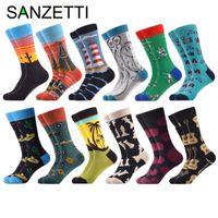 SANZETTI 12 пар / Лот новый стиль мульти красочные зимняя мода мужчины расчесанные хлопчатобумажные носки длинные смешные мужские платья повседневный дизайн носки