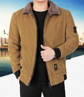 Spesso Designer Mens giacca invernale di lusso solido di colore casuale Bomber Piccolo Applique Zipper Fly Cappotti