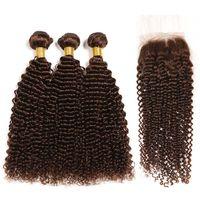 Premium Medio Marrón # 4 Kinky Remy Remy Human Hair Weave 3 Paquetes de tejido con cierre de encaje 4x4