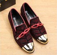 Горячие Sale-n Повседневная Формальная Обувь Для Мужчин Черный Натуральная Кожа Кисточкой Мужчины Свадебные Туфли Золотые Металлические Мужские Шипованные Мокасины размер: 38-46
