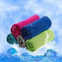 Serviette de sport de glace froide 30 * 90CM refroidissement été été Sunstroke exercice de sport Serviettes en polyester doux respirant serviette de refroidissement 10 couleurs BH2139 CY