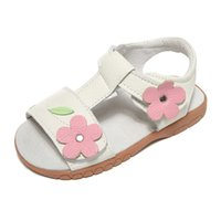 girls sandals genuine leather white pink floral summer shoe ...
