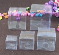 50 stücke quadrat kunststoff klare pvc boxen transparent wasserdichte geschenkbox pvc tragetasche verpackung box für kinder geschenk schmuck / süßigkeiten / spielzeug / kuchen