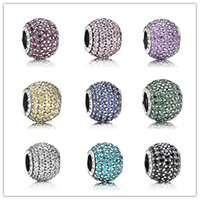 Authentic 925 Sterling Silver Beads with Clear CZ DIY Charm ...