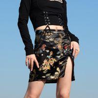 sexy novo design das mulheres bodycon cintura alta túnica de cetim bordado padrão de tecido chinês retro dragão ventilação jag saia curta S M L