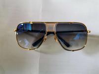 Gafas de sol cuadradas clásicas 2087 Pincel de oro azul marino degradado de la lente de la moda de los hombres Gafas de sol Gafas de sol Sombras Gafas Nuevo con caja