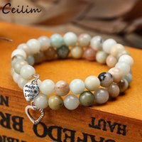 New fashion Two Row Tiger Eye Bead Bracelet Bangles Heart Ch...