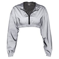 Autumn Reflective Zipper Hooded Long Sleeve Crop Womens Lady...