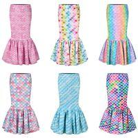 Kız Denizkızı Etek 3D Balık Ölçek Baskılı Elbiseler Yürünebilir Etek Kız çocuklar doğum günü partisi Cosplay Costume'da payet etek LJJA3767-13 balık kuyruğu