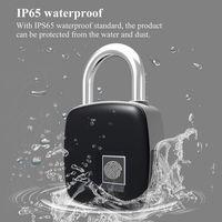 Yeni Parmak İzi Kilit Parmak İzi Kilit Akıllı Anahtarsız IP65 toz geçirmez Tasarım Anti-Theft Su Geçirmez Kapı Kilidi Asma Kilit Bad In Drop epacket