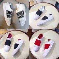 Fashion Party 2019 Designer Marca Couro Trainers A listra branca preta Casual tecido elástico Homens Mulheres Sapatos Tamanho 36-45 Com Box